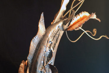 hand raised Copper fishing lure sculpture