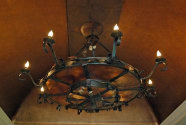 Hand forged oak leaf chandelier
