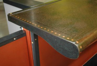 Acid etched steel and copper bar top