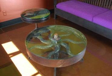 Reclaimed steel found art pulley wheel table