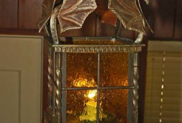 Hand carved steel forged dragon lamp